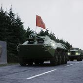 Колонна техники на марше. Западная группа войск. 1990