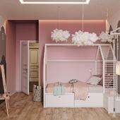 Детская с розовым градиентом на стене