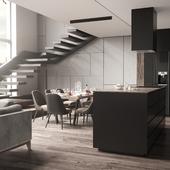 Мужская квартира со стильным интерьером (сделано по референсу)