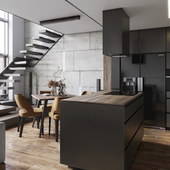 BLACK and  GRAY apartment( сделано по референсу )