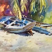 Пляж в разных цветах. 2dАкварель