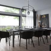 Визуализация кухни-гостиной в загородном доме