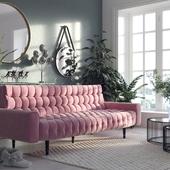 Розовый диван и гибридный жасмин (сделано по референсу)