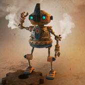 немножко стимпанковский старый но ещё бравый усатый робот охраны