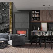 Визуализация гостиной-столовой