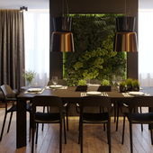 Гостинная, кухня, столовая в совресенном стиле