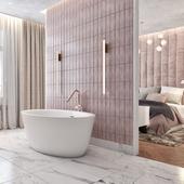 Спальня, совмещенная с ванной комнатой