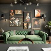 Визуализация кабинета в апартаментах.