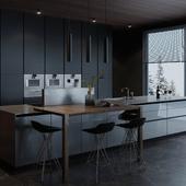 Фрагменты концепт-интерьера кухни-гостинной в загородном доме.