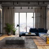 living room (работа по референсу) loft