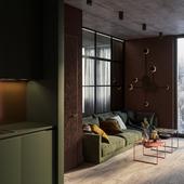 Теплая, осенняя атмосфера в интерьере небольшой квартиры в Москве