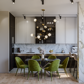 Кухня-гостиная с камином