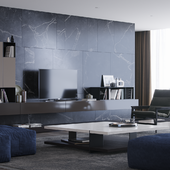 Black marble living room