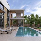 Летний дом с бассейном (сделано по референсу)