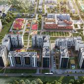 Визуализация квартала жилых домов