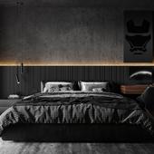 """Дизайн и визуализация спальни """"Dark room"""""""