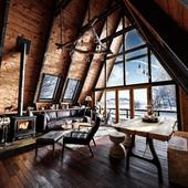 Cabin house in winter . Interior visualization ( Визуализация интерьера )