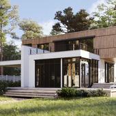 Загородный дом в лесу ( сделано по референсу )