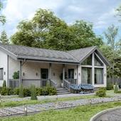 3D визуализация загородного дома из бруса