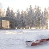 Современный дом в атмосфере зимнего леса