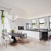 Snow-white kitchen