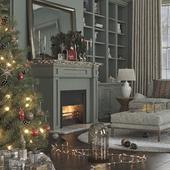Christmas interior / Fireplace / Fireflies / Lofi Music