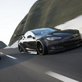 Tesla car with widebody kit