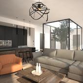 Living room in UPtrium House