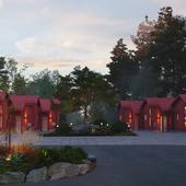 Red camping housing