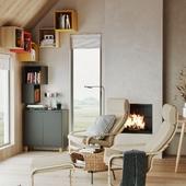 Living room with stylish storage solutions (сделано по референсу)
