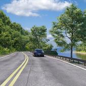 шоссе, лес, река