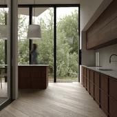Wood modern kitchen design   visualisation