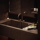 Визуализация черной ванной в современном стиле