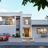 Визуализация дома в смешанном стиле
