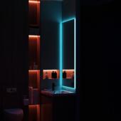 men`s bathroom. eclectic decision