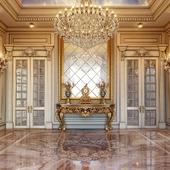 Интерьер холла с зеркалом в классическом стиле.Входная группа.Hallway.Hall