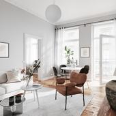 Scandinavian interior with warm accents (сделано по референсу)