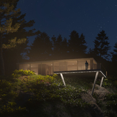 Concrete house in the forest