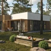 Современный одноэтажный дом с плоской крышей