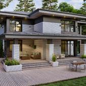 Визуализация загородного дома в стиле Райта