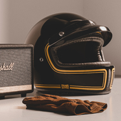 3D model of Helmet x g100, Marshall Stanmore II and Red WIng Gloves