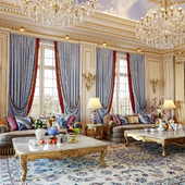 Гостиная в классическом стиле. Big  Arabic Majlis interior in classical style