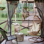 Интерьер веранды загородного дома
