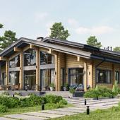 3D визуализация загородного дома из бруса в LUMION