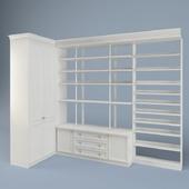 Шкаф угловой с полками для книг.