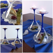 decorative set with glasses and candlelight