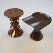 Carved wooden chairs-stools