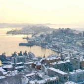 Panorama of Vladivostok in winter