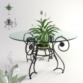 """Forged table and plant """"Spathiphyllum"""""""