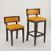 Stool And Chair wood leather and tacks
